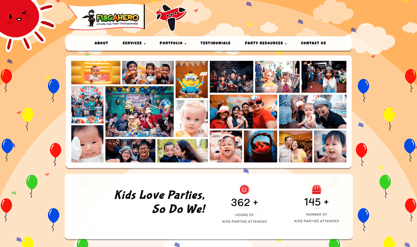 Thinking Notes Projects Showcase - FlagAHero Kids Parties Website