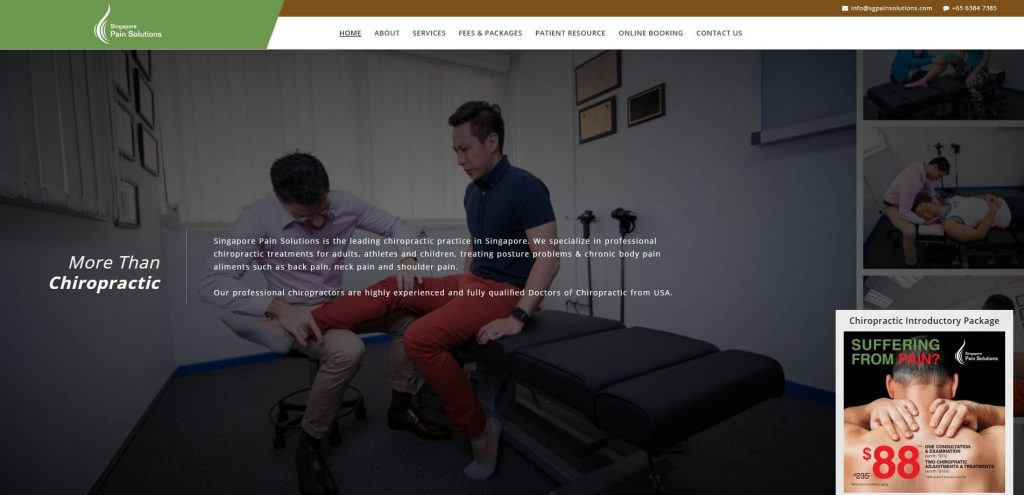 The latest website for Singapore Pain Solutions