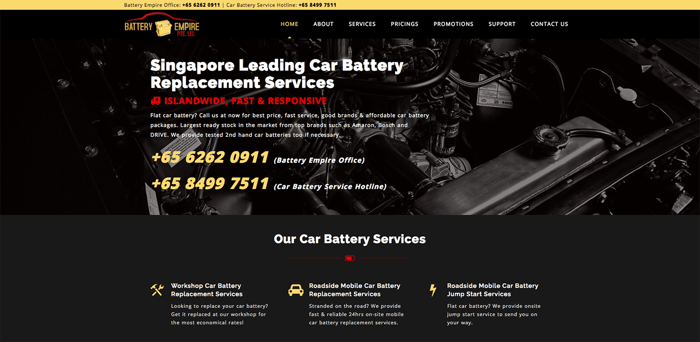 Thinking Notes Projects Showcase - Battery Empire Website
