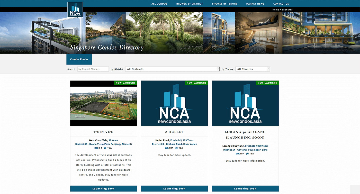 Thinking Notes Projects Showcase - New Condo Asia Website