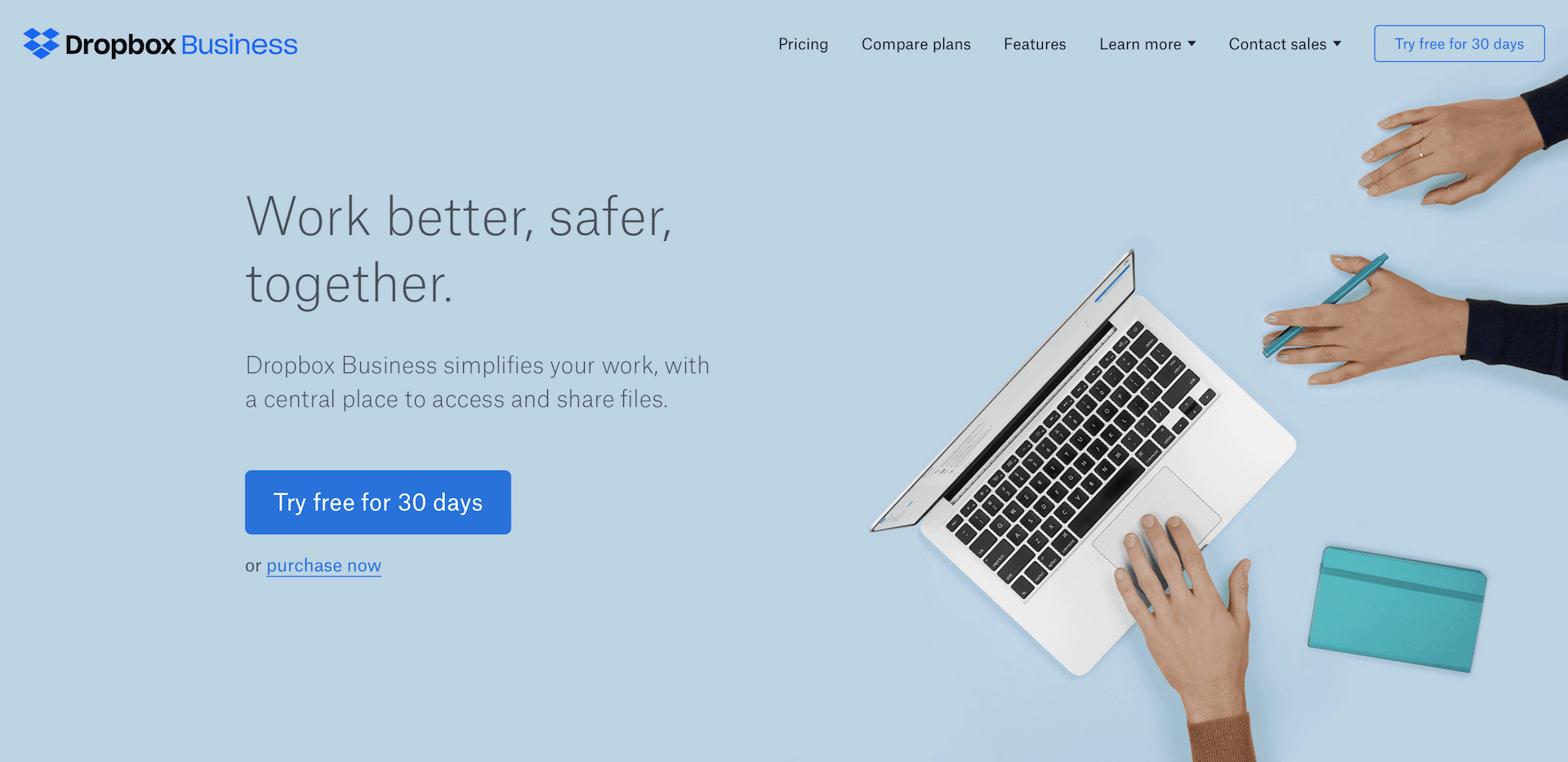 Visually attractive website design by Dropbox