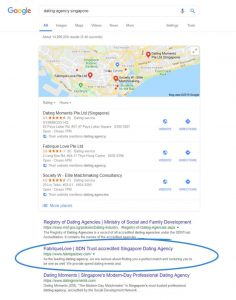 organic search results on google: dating agency