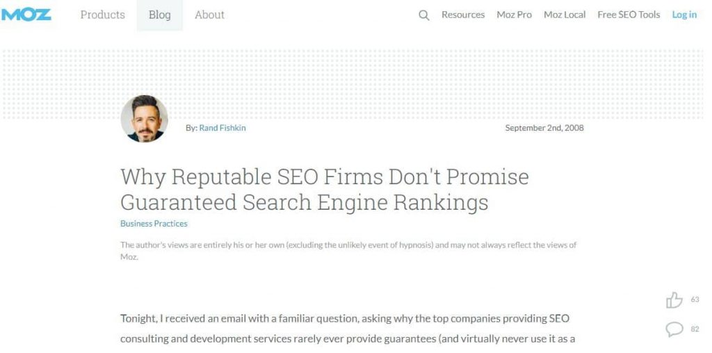 Reputable SEO Firms Do not Guarantee Search Engine Rankings