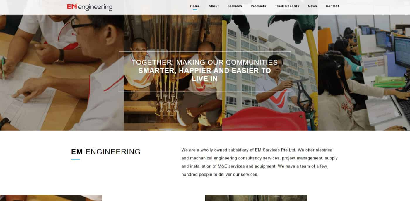 Thinking Notes Projects Showcase: EM Engineering Website