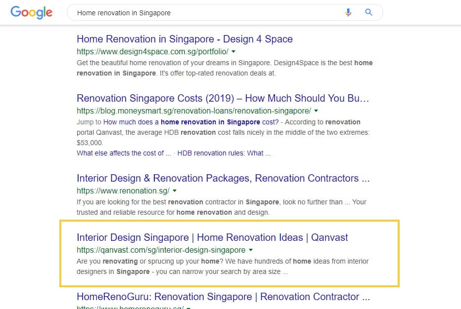 search result on home reno in singapore