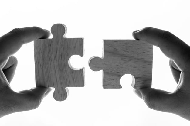 Macro shot of jigsaw puzzles