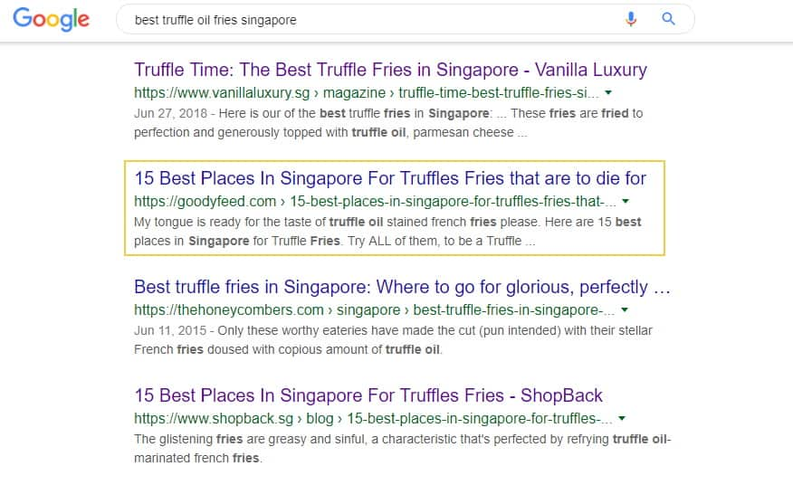 truffle fries search result