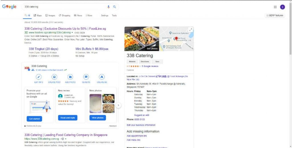 338 Catering_Google Search Results