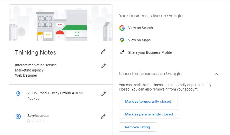 Setting service area in Google My Business