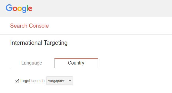 Setting International Targeting at Google Search Console
