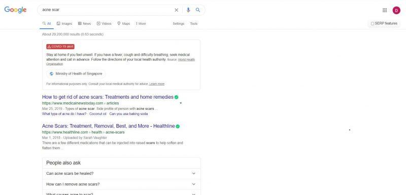 Google SERP_acne scar